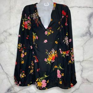 Old Navy XL Floral Black Blouse